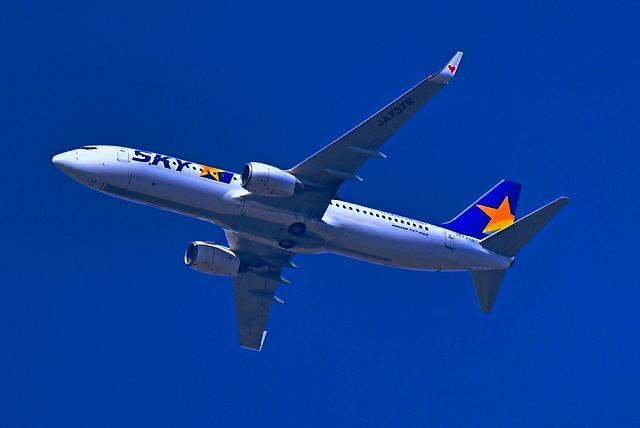 鳥撮影してたらスカイマークが長崎空港へ