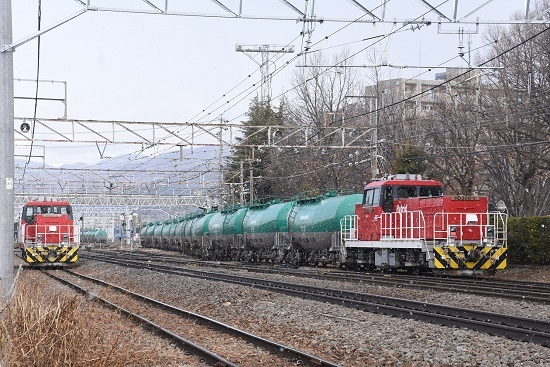 2020年2月8日撮影 南松本にて側線へと押し込むHD300