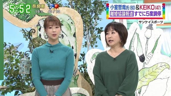 虎谷温子がニットで胸元を強調くっきりニットの横乳!! (11)