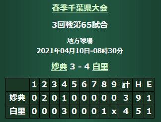 【春季大会2021】3回戦210410