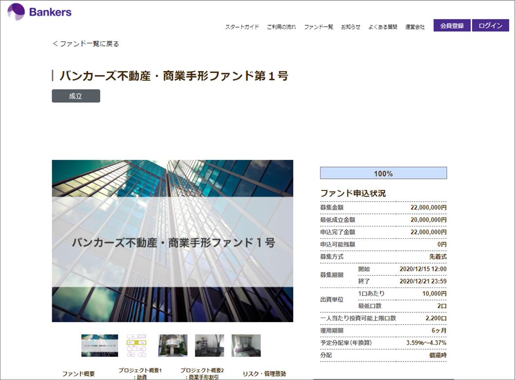 バンカーズ1号案件に20万円投資1