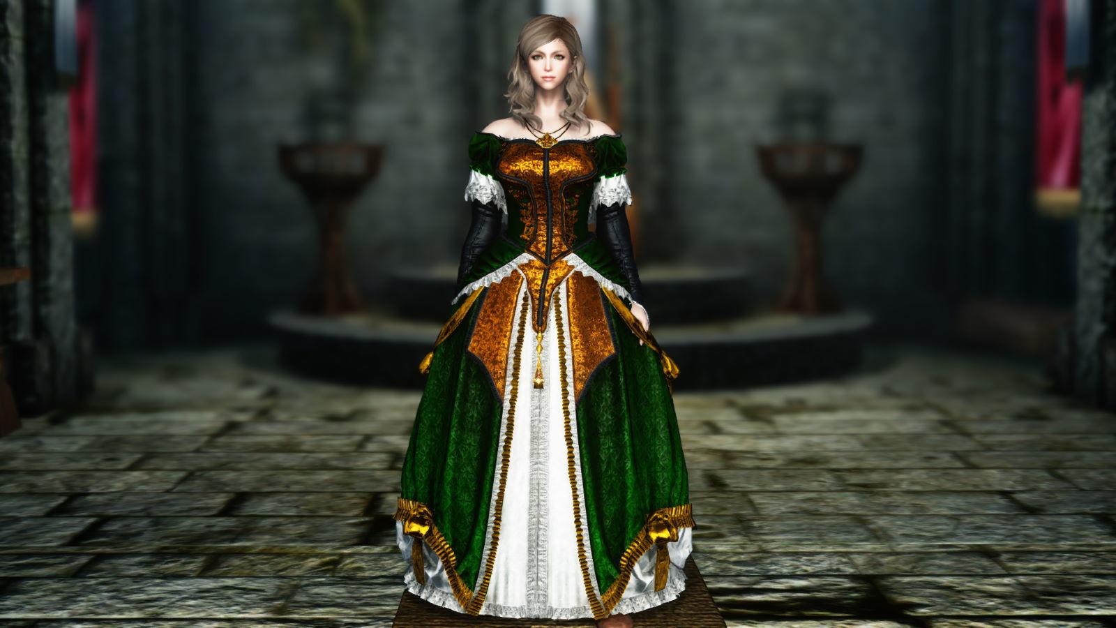 FullInuEliseDressSK 240-1 Pose Dress Green 1