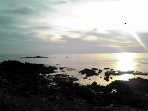 大島の夕日