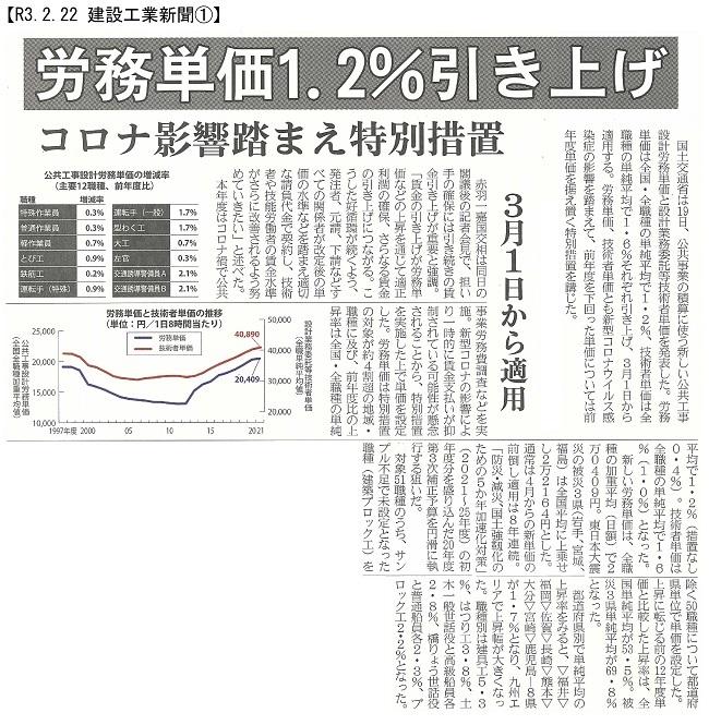 20210222 公共工事設計労務単価1.2%増・国交省:建設工業新聞①