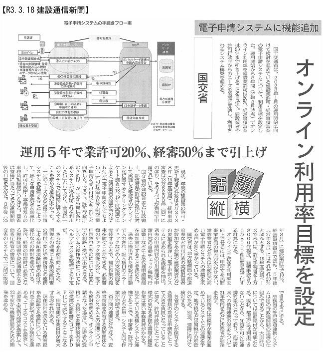 20210318 電子申請システムに機能追加・国交省:建設通信新聞